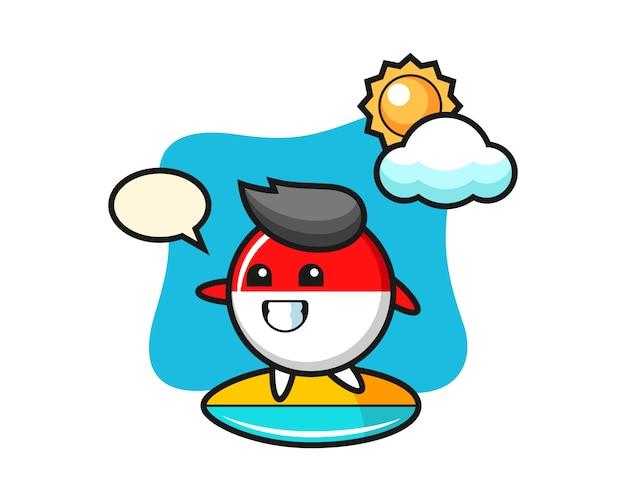 インドネシアの旗バッジ漫画のイラストがビーチでサーフィン