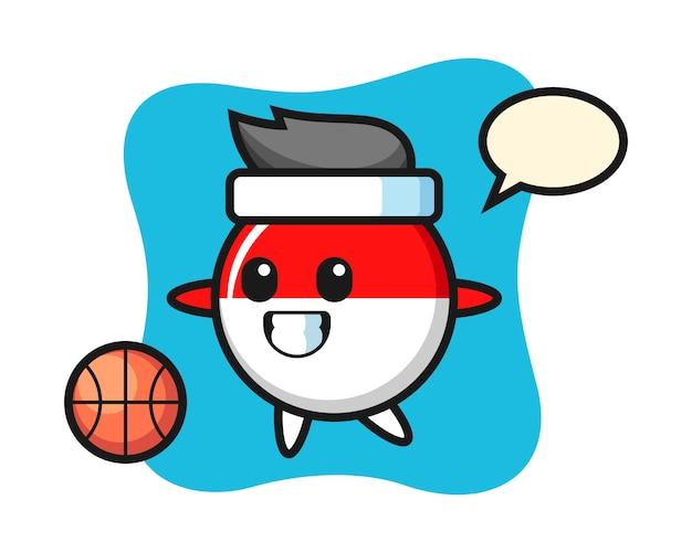 インドネシアの旗バッジ漫画のイラストはバスケットボールをプレーしています。