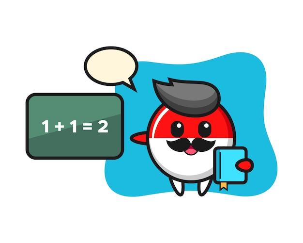 教師としてのインドネシアの旗バッジキャラクターのイラスト