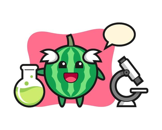 科学者としてのスイカのマスコットキャラクター