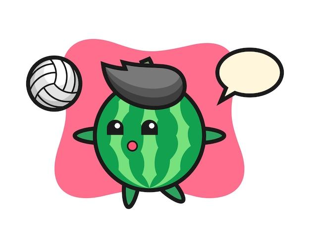 Персонаж мультфильма из арбуза играет в волейбол