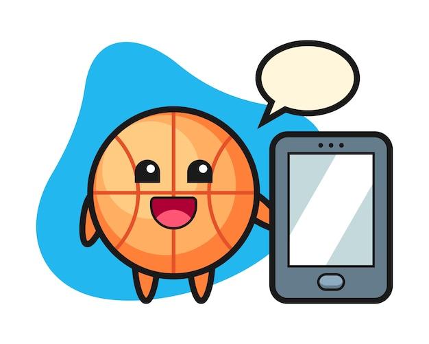 スマートフォンを持ってバスケットボールの漫画