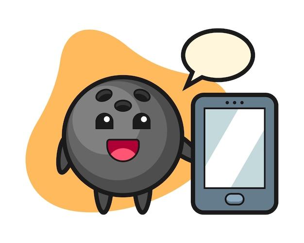 スマートフォンを持ってボウリングボール漫画