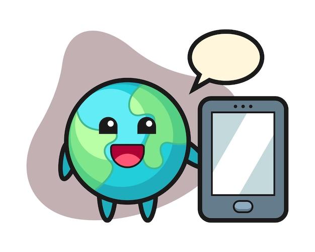 スマートフォンを持っている地球の漫画