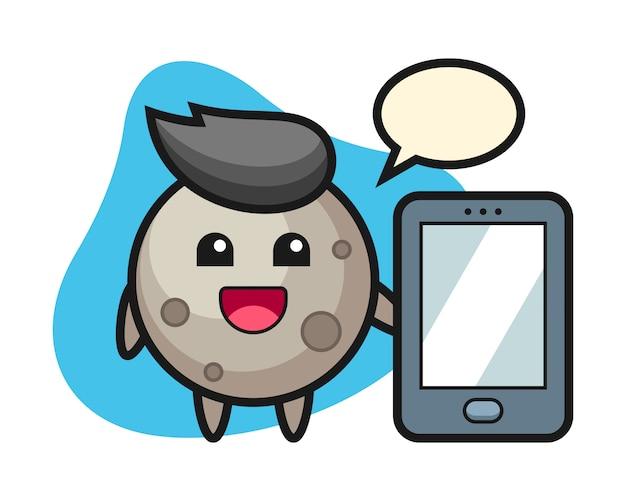 スマートフォンを持った月の漫画