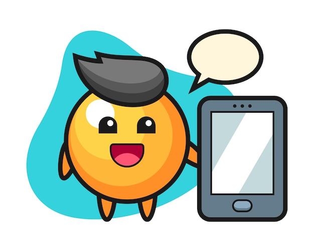 スマートフォンを持っているピンポンボール漫画