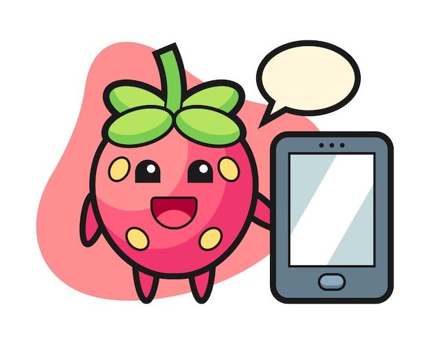 スマートフォンを持ってイチゴの漫画
