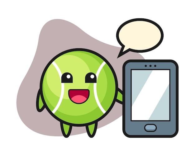 スマートフォンを持っているテニス漫画