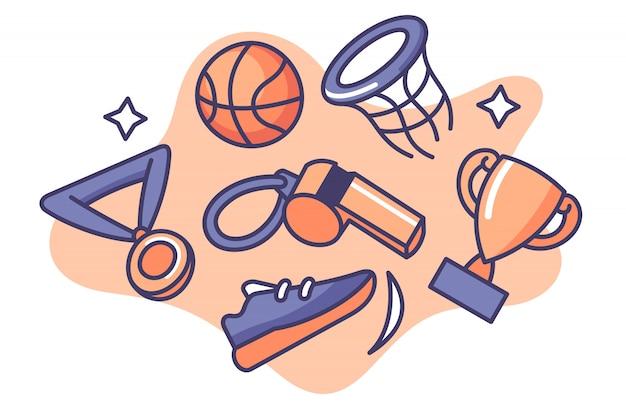 Набор баскетбольной иллюстрации шаржа