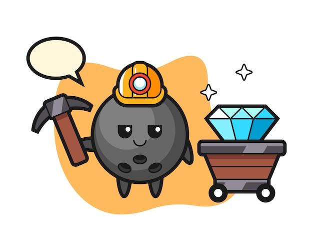 Шар для боулинга как шахтер