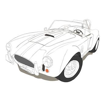 白い背景の古い車。手描きの車