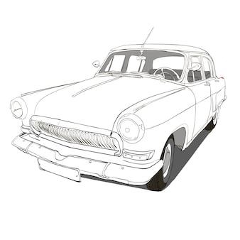 手描きの車。レトロな手はスケッチされた車のイラスト。