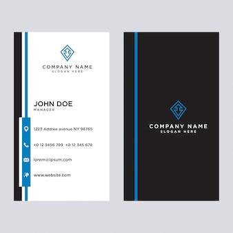 Стильные синие элегантные визитки, шаблон