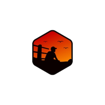 日没の人間のロゴのデザインテンプレート