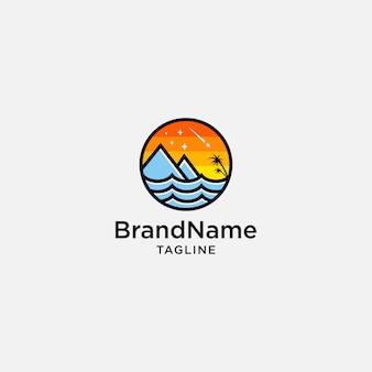 Концепция логотипа горного пляжа