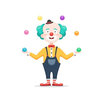 Клоун жонглирует разноцветными шариками
