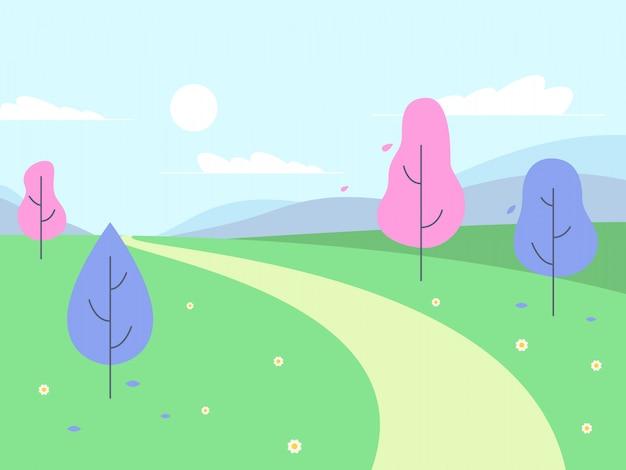 ピンクの木とファンタジーの風景