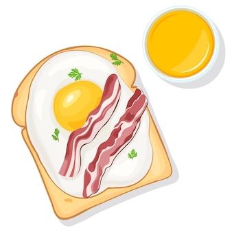 朝食用食品。卵、ベーコン、野菜、オレンジジュースのトップビューで乾杯します。