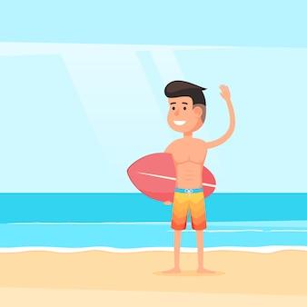 Дружелюбный серфер на песчаном пляже