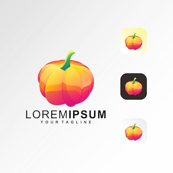 Шаблон логотипа тыквы премиум