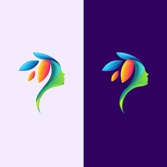 カラフルな抽象的な女性の葉のロゴ