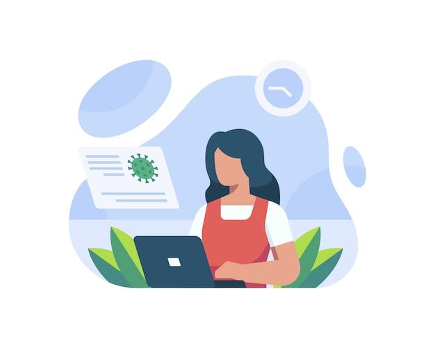 ラップトップでコロナウイルスに関するニュースを読む女性