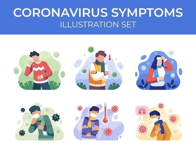 Набор иллюстраций симптомов коронавируса