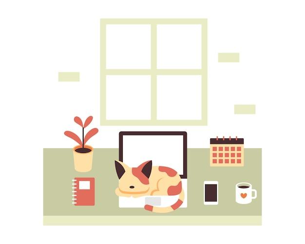 ノートパソコンのイラストのコンセプトで眠る猫