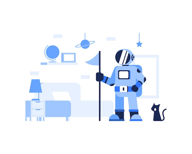 かわいい宇宙飛行士と猫のイラスト