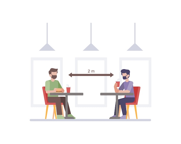 顧客のテーブルチェアの図の間で社会的な距離を置くことにより、安全衛生プロトコルを実践するレストラン