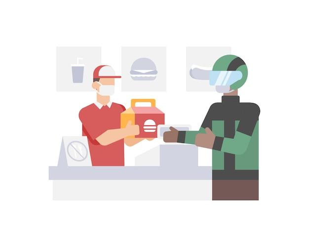 オンラインドライバーの購入とファーストフードのレストランから顧客の家のイラストへのハンバーガーの配達