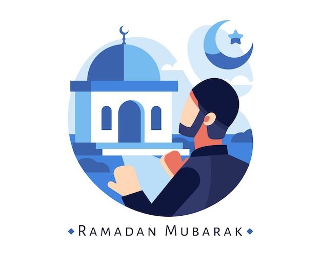 モスクで祈るイスラム教徒の男性とラマダンムバラク背景