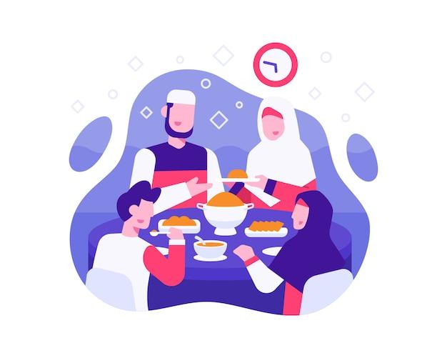 Фон ифтара с мусульманской семьей ест вместе во время ифтара