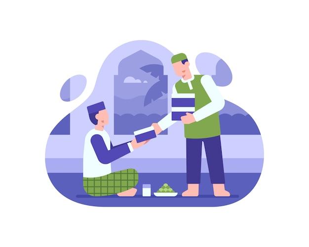 Человек дает пожертвования продовольственной коробке мечети иллюстрации