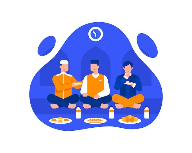 Мужчины-мусульмане едят ифтар в мечети