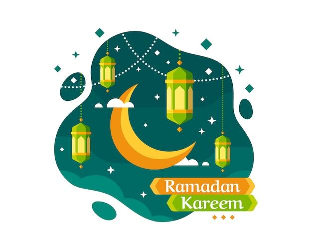 Рамадан карим фон с полумесяцем и фонарем