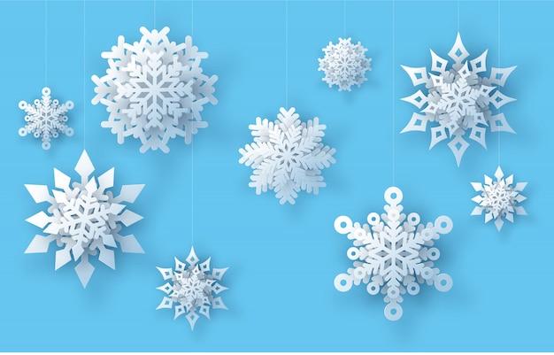 Реалистичные бумажные снежинки