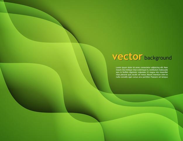 カラフルな緑の波の背景を持つ抽象テンプレートデザイン