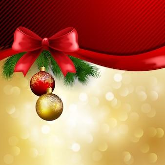 クリスマスの赤と金の背景