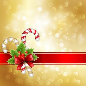 ゴールデンライトとクリスマスの赤いリボンの背景