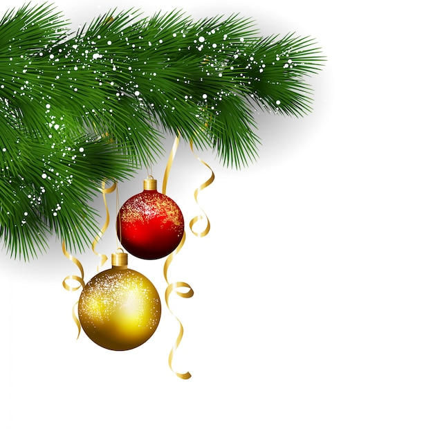 Рождественский фон с сосновыми ветками и шарами