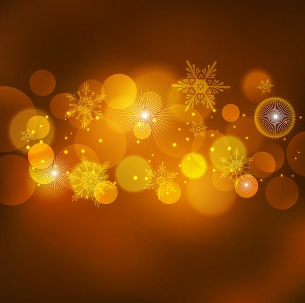 抽象的なクリスマスライトオレンジ背景