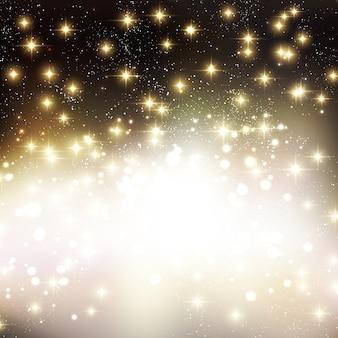光沢のある星とメリークリスマスの休日の背景