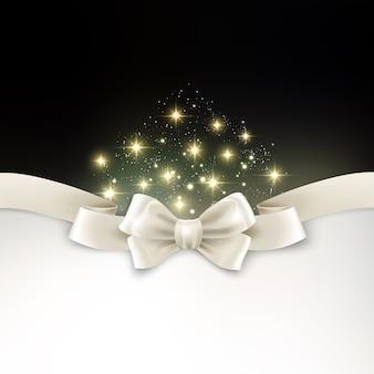 Праздничный светлый новогодний фон с белым шелковым бантом
