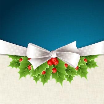リボンとホリーとベクトルクリスマス背景