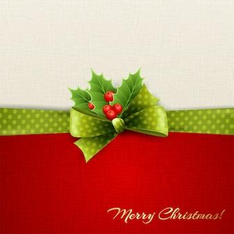 ヒイラギの葉とクリスマスの装飾