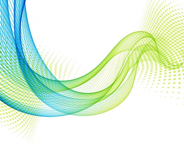 Абстрактный фон с синей и зеленой гладкой волной