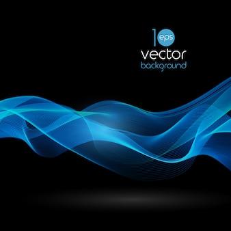 Блестящие цветные волны на темном фоне векторов