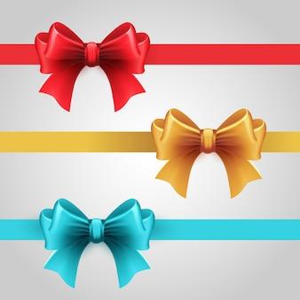 弓で青、赤、金の休日リボンのセット