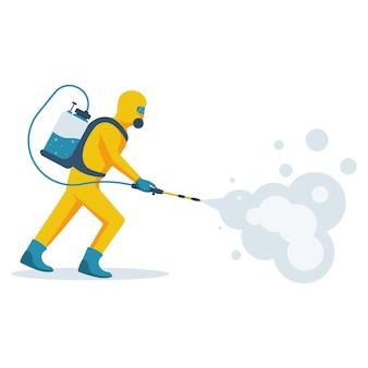 消毒のコンセプト。黄色の防護防護服の男。